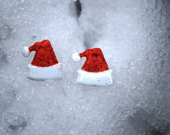 Santa Hat Earrings -- Studs, Red and White, Glittery, Silver