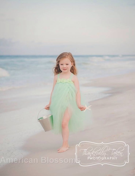 Mint flower girl tutu dress mint beach wedding baby girls for Flower girl dress for beach wedding