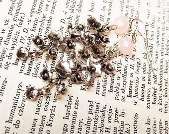 Silver Branch Earrings With Rose Quartz Dangle Earings Cherry Blossom Sakura Jewelry Bead Earrings For Her