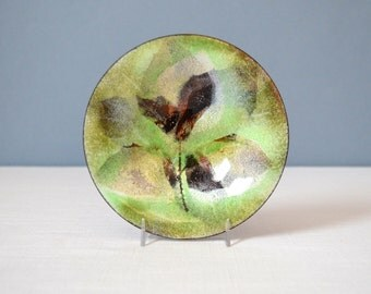 Vintage Hand Made Enamel on Copper Dish - Green and Brown Leaves