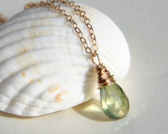 Mystic peridot green quartz wire wrapped briolette pendant necklace sterling silver or gold filled