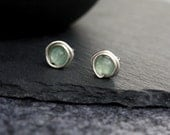 voyage - green aventurine and silver earring studs