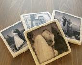 Personalized Photo Coasters -  Custom Handmade - Photo Stone Tile Coasters- Marble