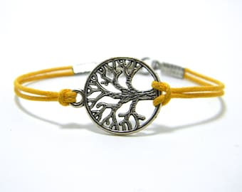 Tree of Life Bracelet, Yellow Friendship bracelet, Tree Bracelet, Yoga bracelet