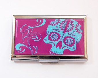 Skull Card Case, Business Card Case, Day of the Dead, Sugar Skull, Card case, business card holder, Purple, Blue (3616)