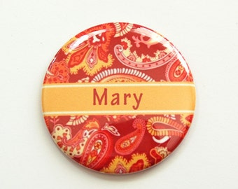 Personalized pocket mirror, paisley mirror, custom pocket mirror, pocket mirror, mirror, purse mirror, paisley design, red, orange (3900)