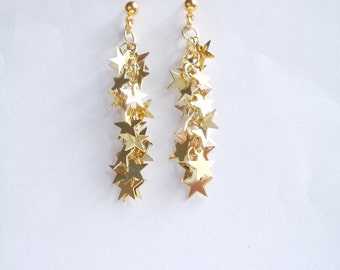 Gold star earrings. Long dangle with tiny sparkling stars on chain. Earstuds. Leverbacks or Earwires Hooks. Stars earrings gold.