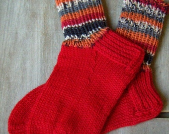 Boot wool Socks with colorful cuff Womens boys girls Warm Durable Cozy Red gray white Autumn Machine washable Handknitted Made in Finland