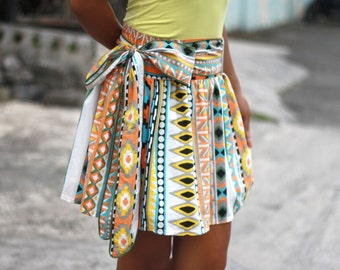 Tribal Skirt, Aztec Skirt, Tribal Mini Skirt with sash