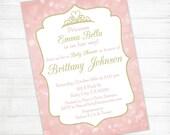 Princess Baby Shower Invitation Package - Gold Blush Pink Glitter Shabby Chic Crown Bokeh - 7-Item Mega Pack - DIY Printable