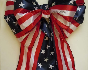 """18"""" Red White Blue Patriotic Bows American Flag Bow Election Day Decoration Independence Day Decor Patriotic Party Door Gate Bow"""