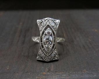 Vintage Engagement Ring, Edwardian Diamond Dinner Ring Platinum c. 1915