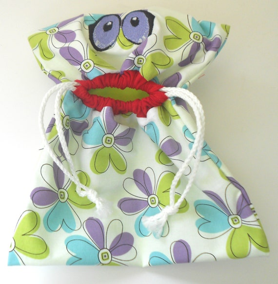 Gymnastics Grip Bag  Wide Mouth Drawstring  Cotton Flower Print  with a Purple Ripstop Lining