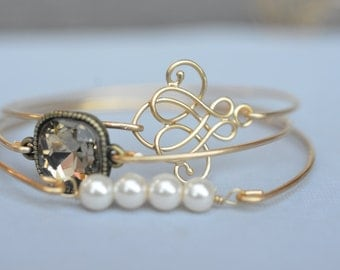 Elegance Bangle Bracelet Set- Elegant Cursive Celtic Knot- Smoky Topaz Bangle- Pearl Bangle- Rhinestone Bangle- Bridesmaids Gift Ideas