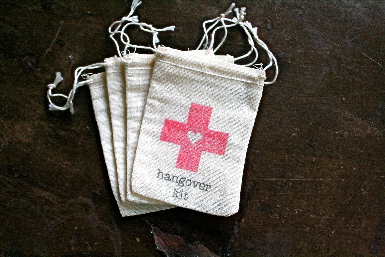 Wedding Favor Muslin Bags : Wedding favor bags muslin 2x4. Set of 10. DIY Hangover Kit