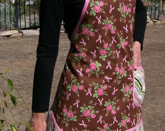 Retro Apron - Pink and Brown Floral Full Apron - Breast Cancer Awareness Pink and Brown New Retro Style Woman's Apron-Size Small
