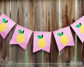 Pink lemonade Banner lemonade stand banner garland pennant Summer props lemonade stand prop-bright yellow,pink green,Brown - Made to Order