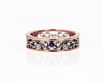 Amethyst ring, filigree wedding ring, rose gold engagement ring, diamond ring, two tone ring, amethyst wedding, purple engagement, diamond