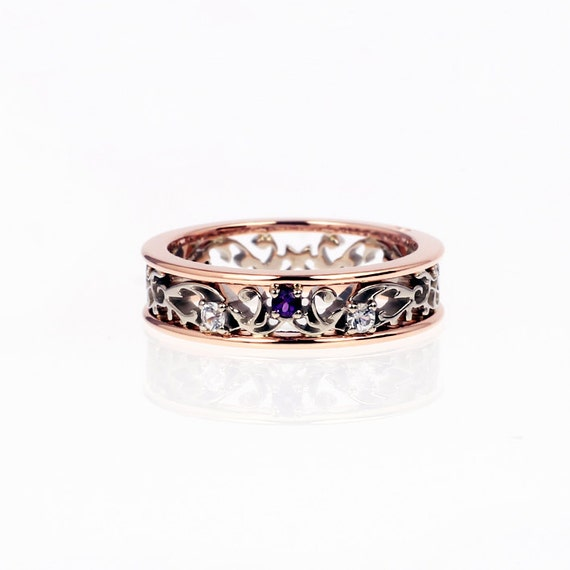 amethyst ring filigree wedding ring rose gold engagement. Black Bedroom Furniture Sets. Home Design Ideas