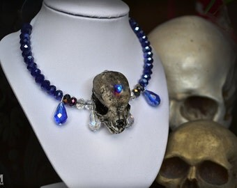 Animal-friendly Canine Choker dog puppy skull necklace pendant with Swarovski crystal Mortiis.M