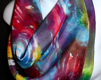 "Lucky Rainbow Blues / SILK SCARF. One of a kind/Hand Painted by NYC Artist Joan Reese/ Silk Square Scarf/100% Silk/21""x21"""