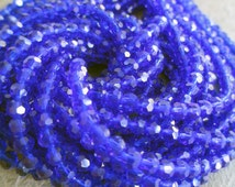 4 mm round faceted crystal glass bead cobalt blue, lot of 50 pcs
