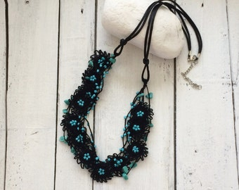 Black Multistrand Necklace, Beaded Statement Necklace, Turquoise Bib Necklace, Crochet Collar, Jewelry, Women's Gift, ReddApple