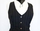 Black  white Pinstripe Ladies Gothic Victorian Steampunk Fitted Waistcoat With purple lining and ornamental buttons