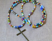 """Boho Cross 40"""" Hippie Love Beads Beaded Multicolor Extra Long Layering Necklace Large Antique Bronze Pendant Bohemian Christian Jewelry"""