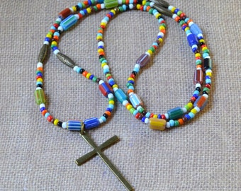 "Boho Cross 40"" Hippie Love Beads Beaded Multicolor Extra Long Layering Necklace Large Antique Bronze Pendant Bohemian Christian Jewelry"