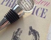 Elizabeth and Darcy Jane Austen Pride and Prejudice Book Page Wine Stopper