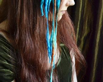 Mermaid MINI ELFLOCKS Clip-in Dreads Dreadlocks in Blue/Green/Brown Cosplay, LARP, Tribal Dance, Festivals, Alt Fashion, Goth, Performance