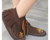 Suede Moccasins - Handmade Native American Style Footwear with Beaded Eagles