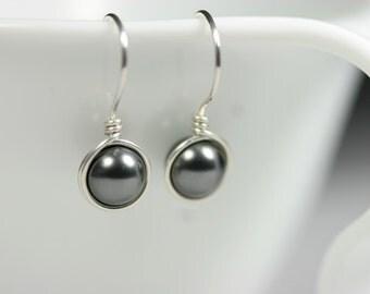 Dark Grey Pearl Earrings Wire Wrapped Jewelry Handmade Sterling Silver Jewelry Handmade Pearl Drop Earrings Swarovski Pearl Earrings