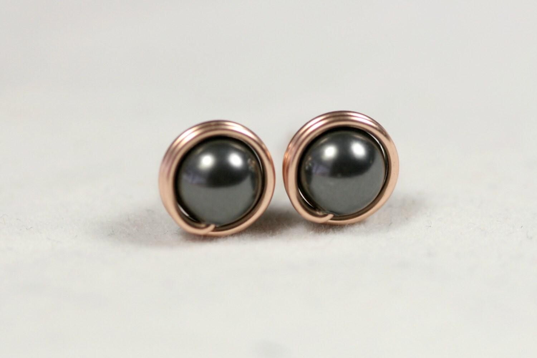 rose gold black pearl earrings black pearl stud earrings rose. Black Bedroom Furniture Sets. Home Design Ideas