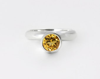 Unique citrine and silver ring, sterling silver ring with yellow bezel set gemstone - November birthstone