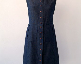 Denim Dress. Pressur Copper closures.70's Luci Lü