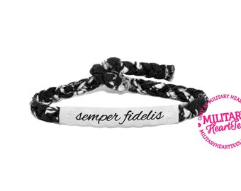 Semper Fidelis, Customizable Military Bracelet - Wife, Girlfriend, Fiance (women, teen girl)