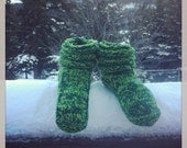 Two toned Green Hand  Knit Mukluk Slippers Custom Made To Order FREE SHIPPING
