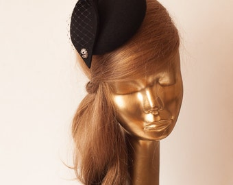 Unique Modern Black Felt FASCINATOR. Fascinator for Women