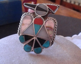 """Large 1"""" tall Thunderbird inlay ring vintage Native American sterling silver Zuni jewelry retro Father's day Westworld tribal birthday gift"""