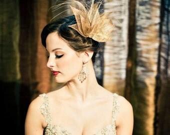 Gold Bridal Fascinator, Gold Fascinator, Gold Headpiece, Wedding Hairpiece, Wedding Accessory, Bridal Hair Clip, Ivory Headpiece, LADY KARAT