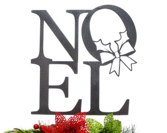 Noel Christmas Metal Sign with Wreath - Silver, 12x12.5, Christmas Decor, Decoration de Noel, Christmas, Christmas Sign