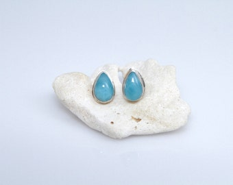 Teardrop Larimar Studs,  Handmade Larimar Jewelry for Women