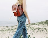 Cerise Print Backpack, Canvas and Leather Backpack, Red Flowers, Printed Fabric, Women's Backpack