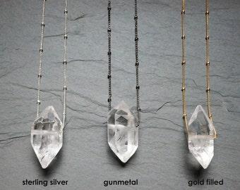 Quartz Necklace ⊿ Quartz Crystal ⊿  Crystal Necklace ⊿ Floating Necklace ⊿ Raw Quartz ⊿ Clear Quartz
