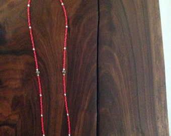 Handmade red seed bead & pendant statement necklace. jewelry, Focal bead, Czeck. and silver beads, Statement necklace, gift. FREE SHIPPIING.