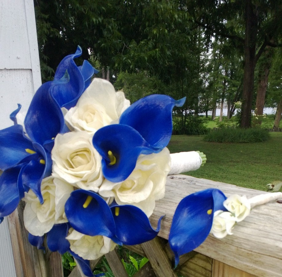 Royal Blue And Ivory Wedding Bouquets : Royal blue ivory rose wedding bouquet with boutonniere