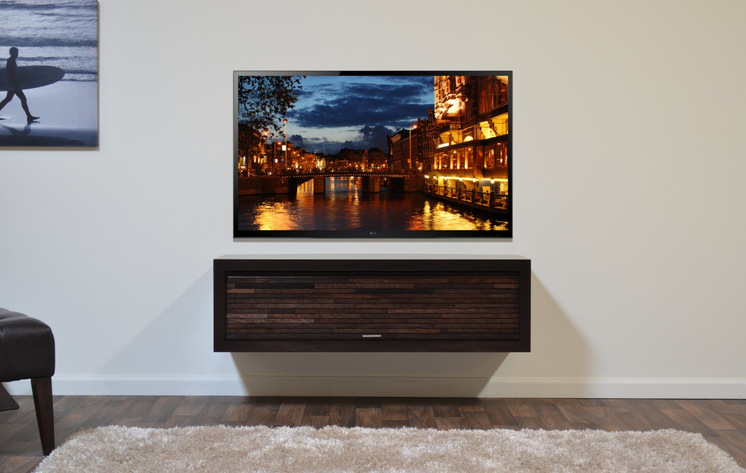 wall mounted hanging tv stand eco geo espresso. Black Bedroom Furniture Sets. Home Design Ideas
