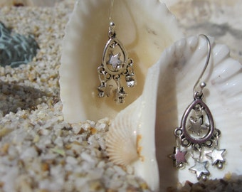 Tiny Silver Star Dangle Earrings